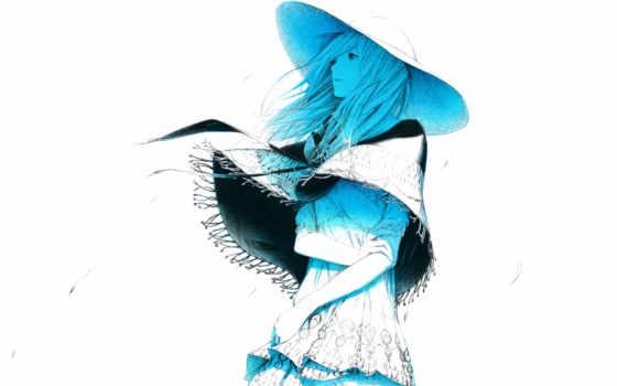 sawasawa, art, девушка, ветер, шляпа, лепестки, blue,
