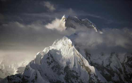 горы, everest, туман