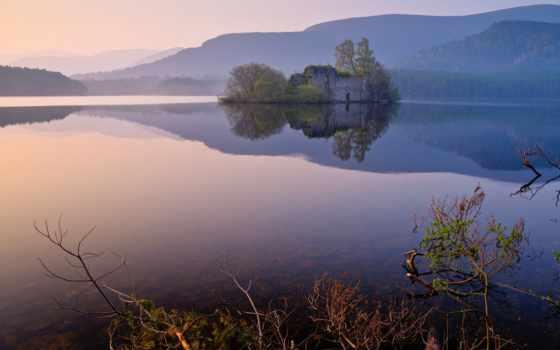 loch, aviemore, ан, castle, eilein, шотландия, sleeps, travel, insh,
