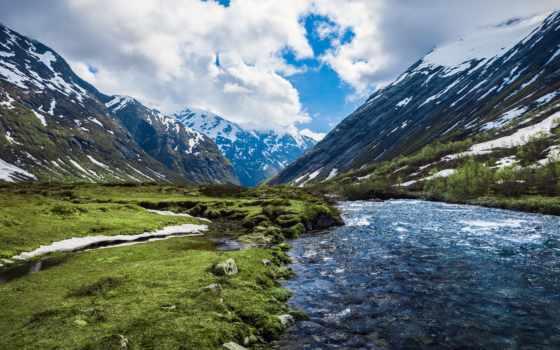 горы, norwegian, природа, река, норвегия, гор, озеро,