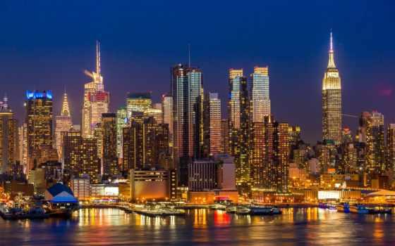 new, york, город, ночь, фотообои, rub, manhattan, цена, skyline,