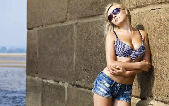 трусы, девушка, очки, blonde, солнечные, шортах, devushki, джинсовые, короткие, красивая, купальник,