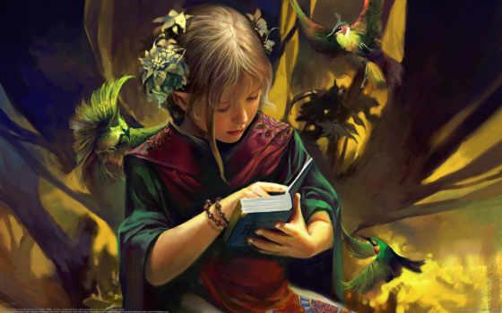 девушка, эльф, fantasy, фэнтези, птицы, книга, доверие,