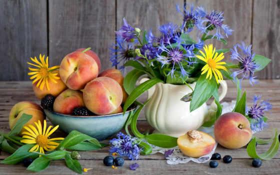 flowers, peaches, цветы, еще, life, еда, cornflowers, blackberry,