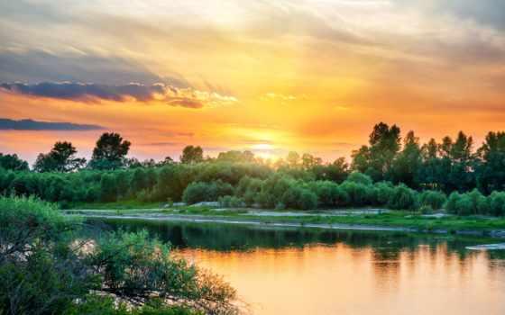 рассвет, небо, река, trees, берег, зелёный, яркий, природа, sun, закат, облако