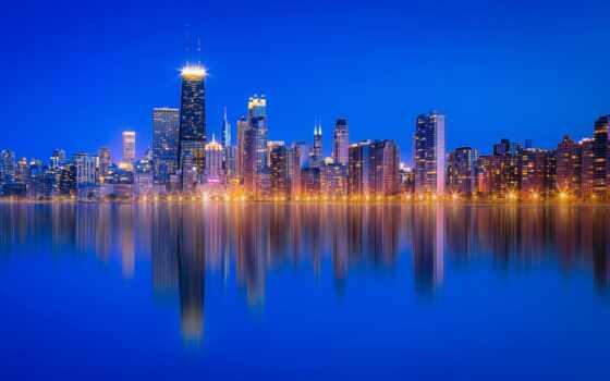 commercial, озеро, michigan, chicago, небоскрёб, отражение