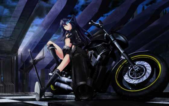 black, rock, shooter, мато, kuroi, мотоцикл, оружие, меч,