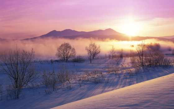 winter, закат, рассвет