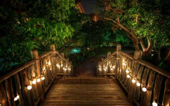 лестница, outdoor, stair, огни, освещение,