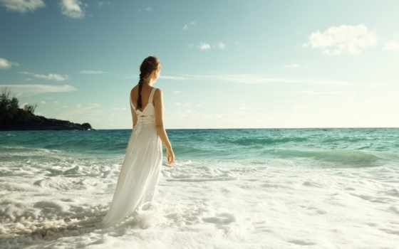 море, девушка, waves, платье, спина, небо, спины,