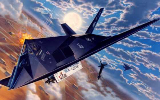 lockheed, shock, картинка, tactical, nighthawk, американский, одноместный, малозаметный, картинку, самолеты, остроумных,