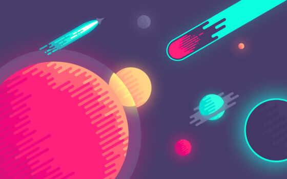 космос, минимализм, planet, графика, comet, circle, заставка, illustration