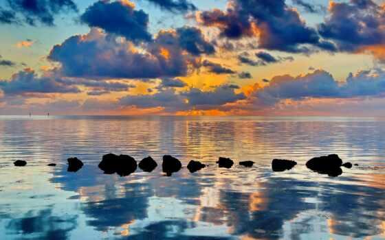 water, горизонт, закат, landscape, облако, небо, natural