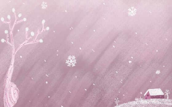 новый год, снежинки, домик