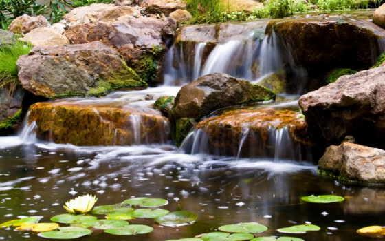 водопады, природа, tapety