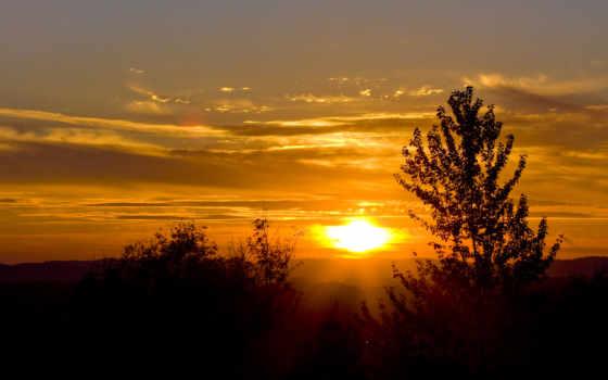 закат, небо, красивые, горы, свет, даль, facebook, деревья, холмы, лес,
