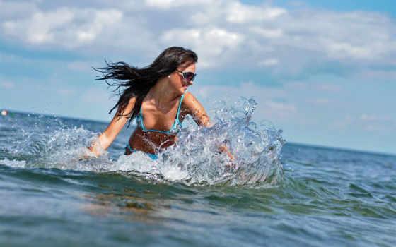 купальник, море, брюнетка