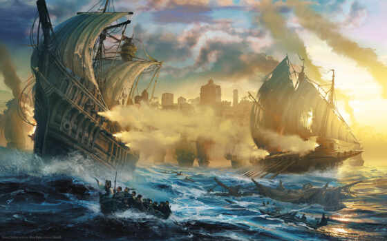 бой, online, парусники, море, anno, фрегаты, лодка, люди,