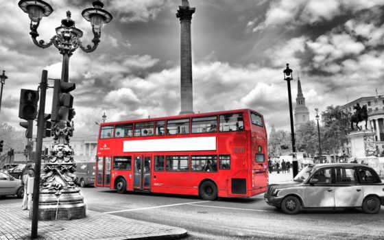 london, чёрно, white, фотообои, bus, англия, город, black, red,