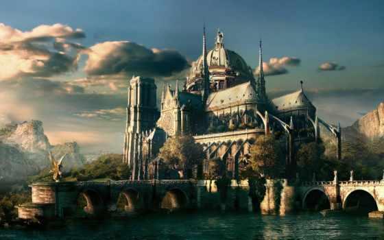 fantasy, castle, лес, горы, небо, июнь, категория, мастера, web,