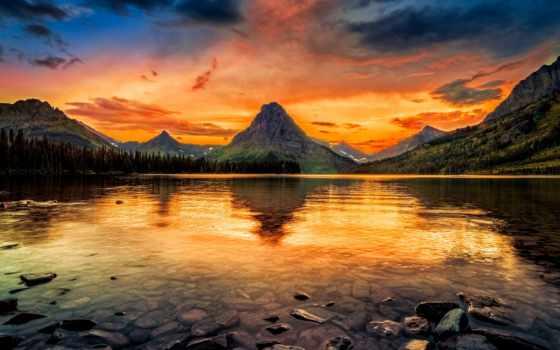 national, glacier, озеро, park, mcdonald, камни, trees, количество,