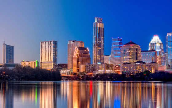 texas, ночь, austin, огни, город, свет, города,