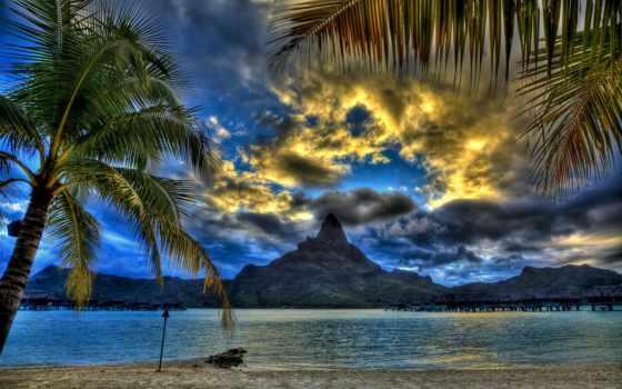 пальмы, пляж, tropics, бунгало, красивые, природы, красавица, full,