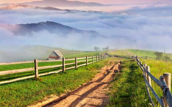 природа, деревня, луга, горы, лес, landscape, дома, трава, austrian,