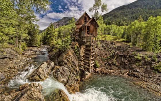 crystal, agua, montañas, molino, río, paisajes, mill, rboles, colorado, juliannaa,