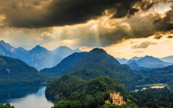 mount, scenery, pazlyi, castle, гора, national, park, hohenschwangau, дерево