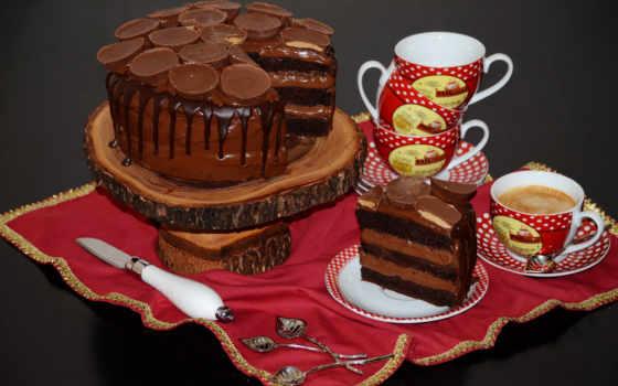 торты, чашка, сладости, eда, кофе,