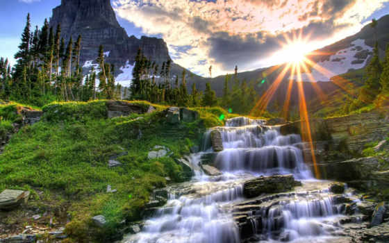 cachoeira, paisagem, lindas