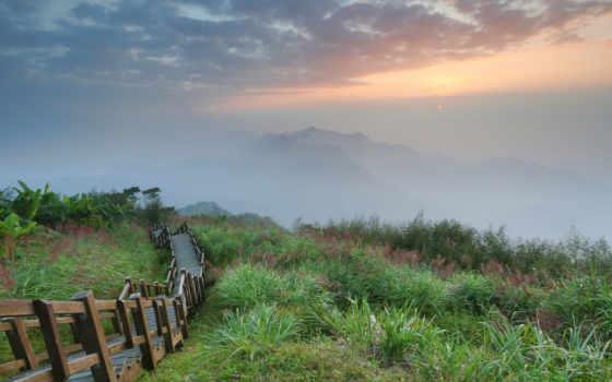 восхитительные, пейзажи -, лестницы, click, туманные, рассвет, мб, новой, enlarge,