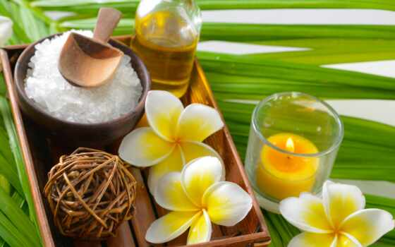 спа, zen, salt, нефть, flowers, candles, plumeria, cvety,