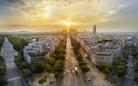 франция, город, париж, дома, улицы, городов, города, улочки, sun, вечер,