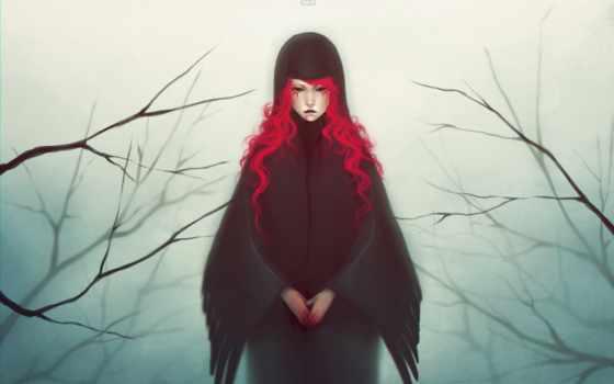 волосы, красные, девушка