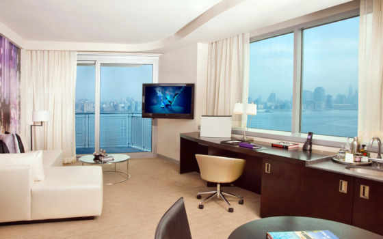 комната, интерьер, окна