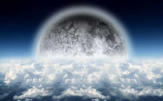 со, облаками, небо