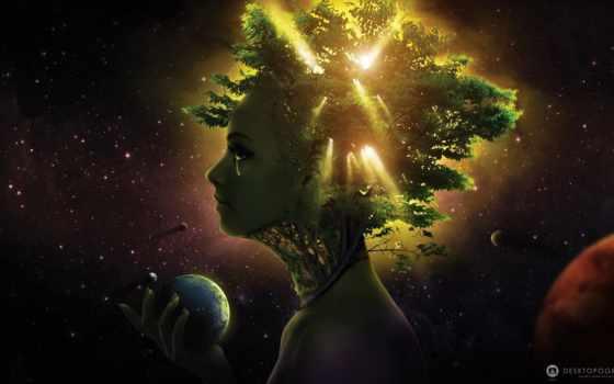 cosmos, planet, девушка