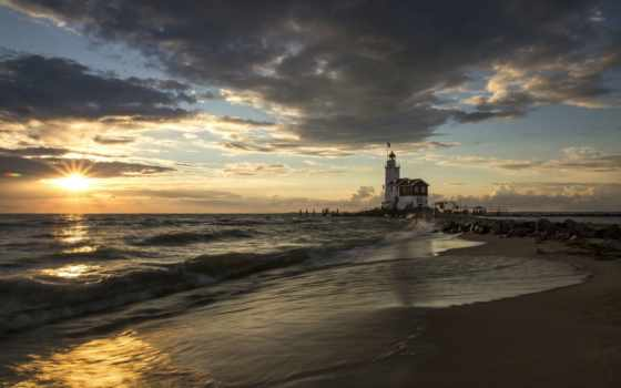 lighthouse, море, costa, blanka, pier, утро, sun, испания, rising, пляж,