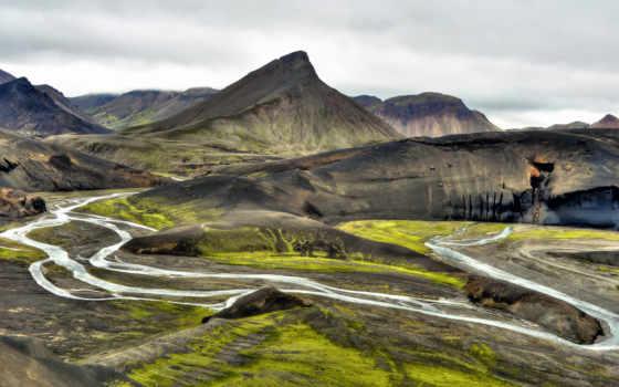 iceland, горы, природа, река, самые, долина, исландии,