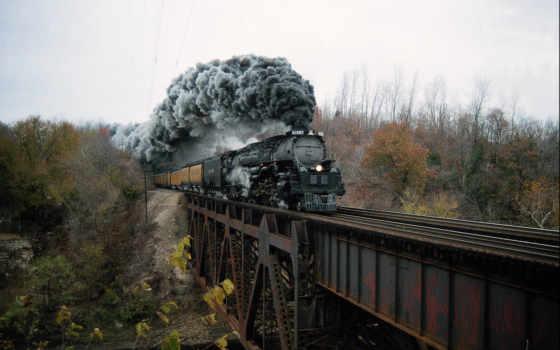 локомотив, дым, паровоза, tubing, въезжает, мост, iron, вагонами, изображение, jpeg,