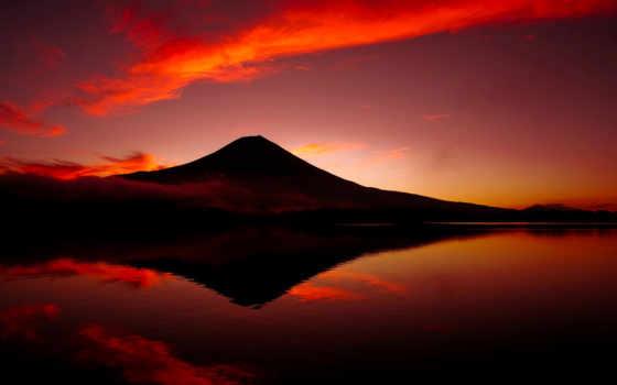 вулкан, гора, japanese, фуджи, япония, озеро, небо, вулкан, фудзи,