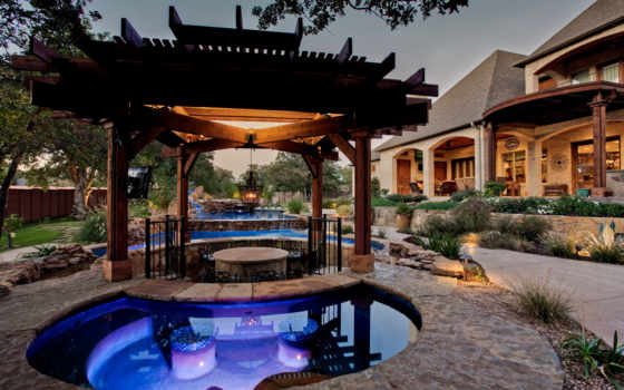 бассейн, swimming, tx, custom, southlake, water, открыть, luxury, цветы, насыпь, natural,