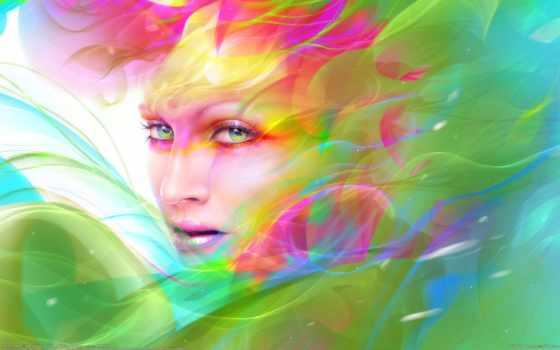 девушка, краски, art