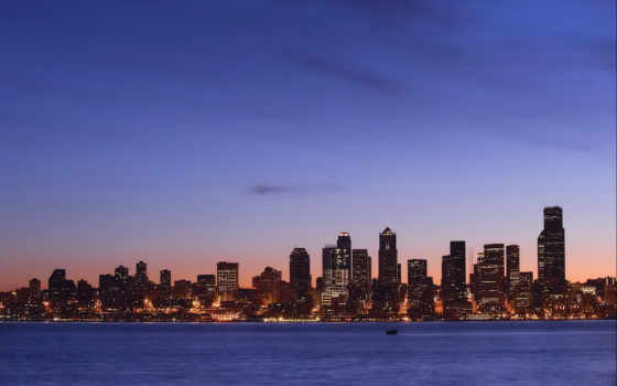 город, ночь, ночью, огни, море, дома, здания, берег, города, water, закат,