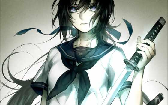 anime, art, школьница, девушка, оружие, форма, катана, картинка,