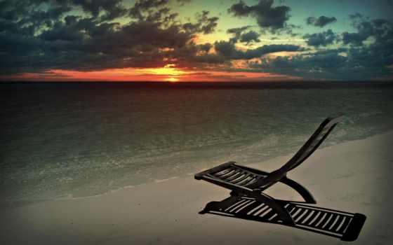 пляж, море, закат, природа, кресло, шезлонг, дек,