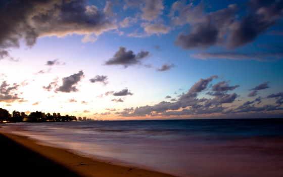 oblaka, вечер, море, берег, небо,