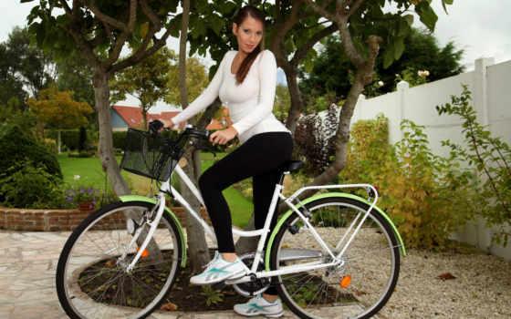 devushki, велосипеде, bike